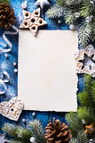 Art Christmas background with fir branches and Gingerbread cooki Royalty Free Stock Photo