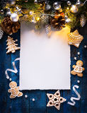 Art Christmas background with fir branches and silver balls with Royalty Free Stock Image