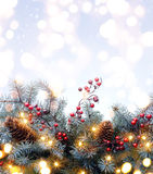 Art Christmas Background With Fir filial Royaltyfria Bilder