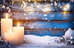 Art Christmas background with holidays light and Christmas decor Royalty Free Stock Photos