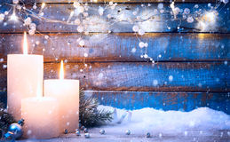 Art Christmas background with holidays light and Christmas trees Royalty Free Stock Images