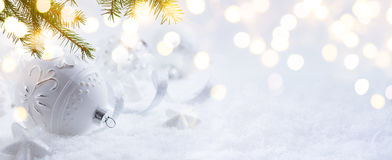 Art Christmas decoration and holidays light on snow Background Stock Image