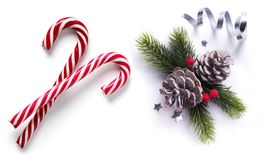 Art Christmas element on white background; top view royalty free stock images