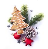 Christmas element on white background; top view royalty free stock image