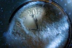 Art Christmas en Nieuwe jarenklok 2014 Stock Afbeeldingen
