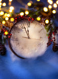 Art Christmas Eve and New Years at midnight royalty free stock images