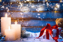 Art Christmas festive background with Christmas light and gift b Royalty Free Stock Images