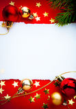 Art christmas frame with paper on red background Stock Images