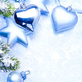 Art christmas greeting card blue background Royalty Free Stock Image