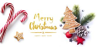 Christmas greeting card; Christmas element on white background; top view. Art Christmas greeting card; Christmas element on white background; top view stock images