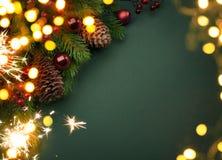 Art Christmas greeting card. With Christmas tree and holidays light Royalty Free Stock Photos