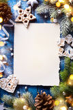 Art Christmas holidays composition on blue wooden background wit Stock Images