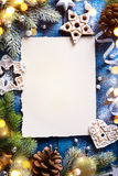 Art Christmas holidays composition on blue wooden background wit Royalty Free Stock Photo