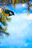 Art Christmas kort med mesar på julgranen och snön Arkivbild
