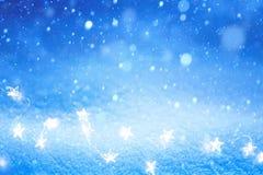 Art Christmas Light on blue snow background stock photo