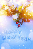 Art Christmas and New Years holidays background with fir-tree br Royalty Free Stock Images
