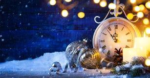 Art Christmas of Nieuwe jarenvooravond; vakantieachtergrond royalty-vrije stock foto's