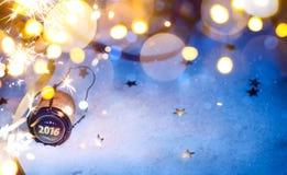 Art Christmas och partibakgrund för nytt år 2016 arkivfoton