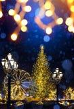 Art Christmas street holidays market; Christmas Tree Light royalty free stock images