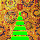 Art christmas tree. Grunge floral aged background Stock Photo