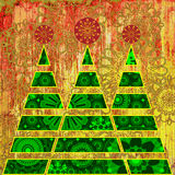 Art christmas tree. Grunge floral aged background Stock Photography