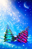 Art Christmas tree  on blue night background Royalty Free Stock Image