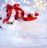Art Christmas tree light; festive background with Christmas ball Royalty Free Stock Photo
