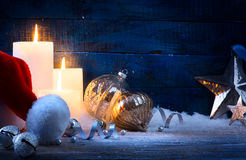 Art Christmas tree light; festive background with Christmas ball Royalty Free Stock Images