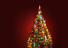 Art Christmas tree on red background Stock Photography
