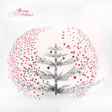 Art christmas tree under the confetti and snowfall Stock Image