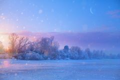 Christmas winter Landscape with Frozen lake and snowy trees. Art Christmas winter Landscape with Frozen lake and snowy trees stock images