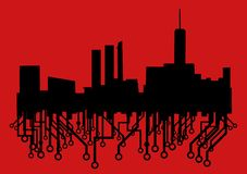 Art city. Creative design of future city in red background Royalty Free Stock Images