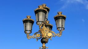 Lamps wearing golden crown. Art in the city lamp wearing golden crown in old town .Macedonia Royalty Free Stock Image