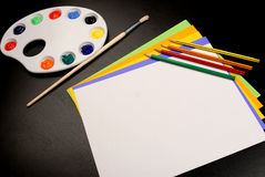 Art Class. This is a picture of different art supplies used in the average childs art class Stock Photography