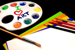 Art Class. This is a picture of different art supplies used in the average childs art class Royalty Free Stock Photo