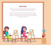 Art Class Banner with Place for Text and Students. Drawing sketch of vase on wooden easels vector illustration of learning process Royalty Free Illustration