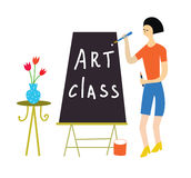Art class illustration with a teacher and tools Stock Images