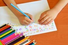 Art class in kindergarten Stock Image