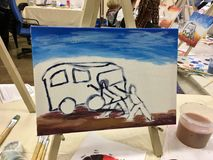 Art Class Before. Learning to paint at an art class in acrylic royalty free stock photo