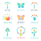 Art Class, studio et icônes de projets Art Therapy et signes sensoriels de jeu Photo stock