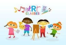 Art Classes For Kids Logo Creative Artistic School For Children Banner Royalty Free Stock Photography