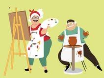 Art classes for seniors stock illustration
