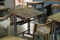 Art Classroom. Simple art classroom with plastic chairs royalty free stock images