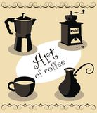 Art of coffee. Vector illustration of the cofee-related objects Royalty Free Stock Images