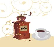 Art of coffee. Vector illustration of the cup of coffee in retro style Stock Image
