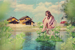 Art collage with beautiful woman Stock Image
