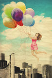 Art collage with beautiful woman Stock Photography