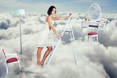Art collage. beauty young woman on sky Royalty Free Stock Photos