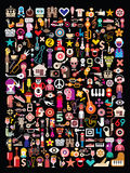 Art collage on black. Collage of many different images on black background. Vector illustration Royalty Free Stock Photos