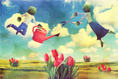 Art collage with flying people Stock Image